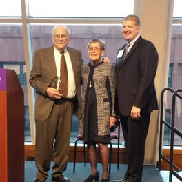 "Dr. Spiera received the ""Sjögren's Champion"" award in 2016 and is pictured with Foundation Founder, Elaine Harris, and Foundation President & CEO, Steven Taylor"